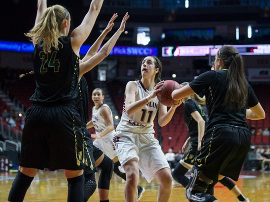 Dowling's Caitlin Clark shoots the ball during the Class 5A Girls' state basketball quarterfinal game between Dowling Catholic and Iowa City West on Monday, Feb. 26, 2018, in Wells Fargo Arena.