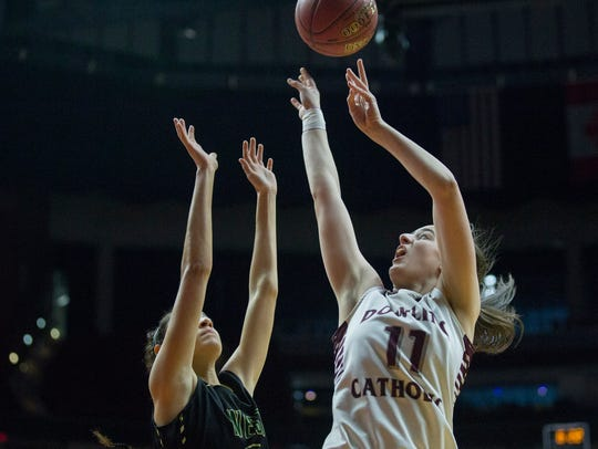 Dowling's Caitlin Clark shoots the ball during the