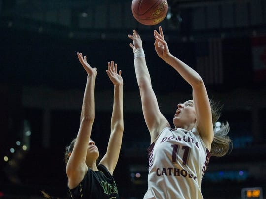 Dowling's Caitlin Clark shoots the ball during the Class 5A girls' state basketball quarterfinal game between Dowling Catholic and Iowa City West on Monday, Feb. 26, 2018, in Wells Fargo Arena in Des Moines.