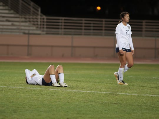 Players react after losing to Ventura in a CIF semifinal game, Tuesday, February 27, 2018.
