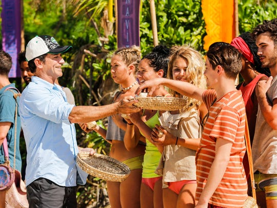 "From left are host Jeff Probst, Jenna Bowman, Stephanie Johnson, Libby Vincek, Donathan Hurley and Michael Yerger on an episode of ""Survivor: Ghost Island."""