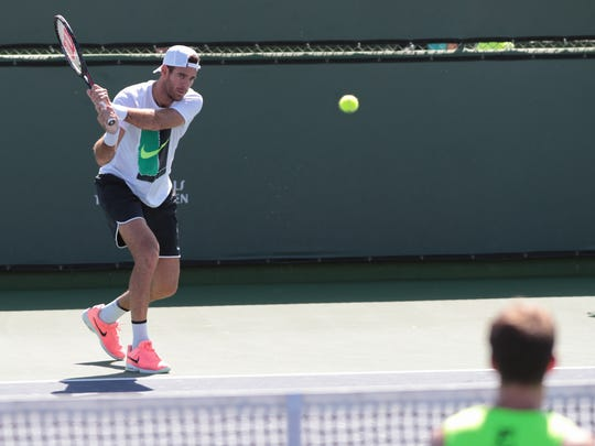 Juan Martín del Potro hits on the practice courts at