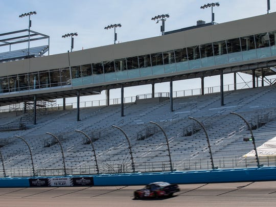 Lightning SouthWest/TAP & Sons Chevrolet's Ryan Sieg passes turn one in front of the new bleachers during practice for the NASCAR XFINITY Series on Friday, Mar. 9, 2018 at ISM Raceway in Avondale, Ariz.