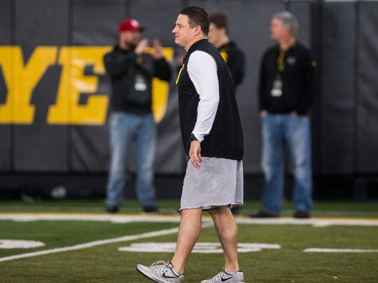Iowa football offensive coordinator Brian Ferentz works