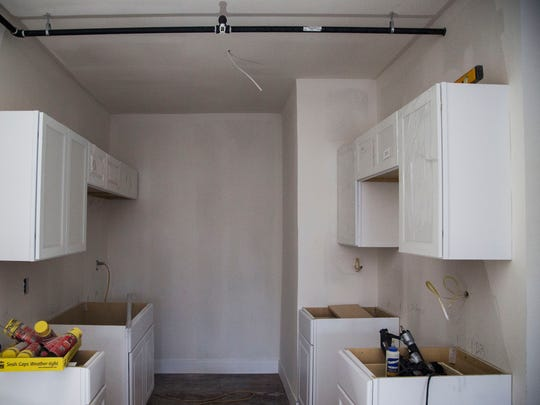 Inside one of six apartments being remodeled in the