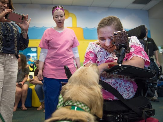 Sydney Shelton, 16, meets King, a new therapy dog at