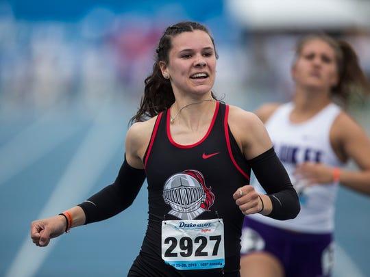 Assumption's Carly King wins the Girls' 100 meter dash during the 2018 Drake Relays on Friday, April 27, 2018, at Drake University.