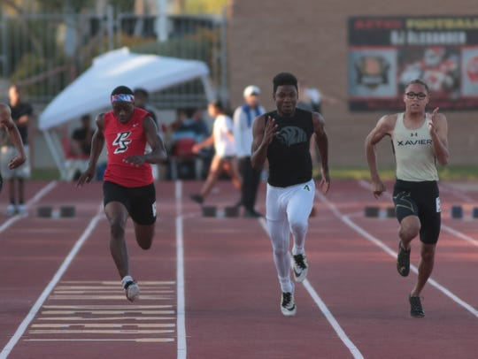 James Green wins the boys 100 meter dash at the Desert