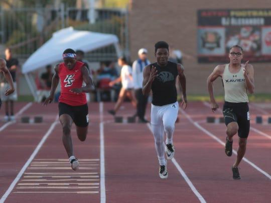 James Green wins the boys 100 meter dash at the Desert