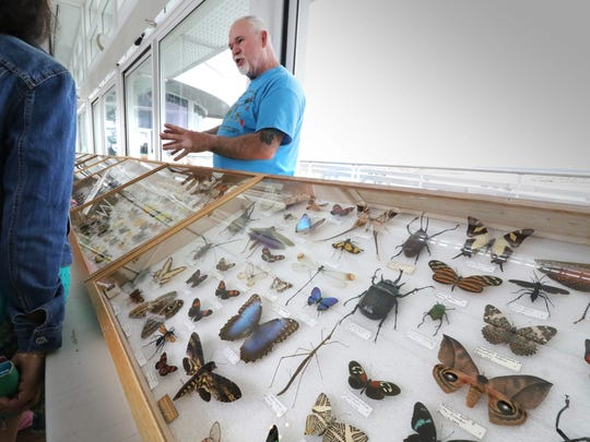 Dan Capps talks with visitors to his Entomology collection