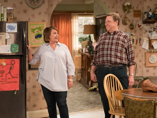 Roseanne Barr, left, and John Goodman in a scene from