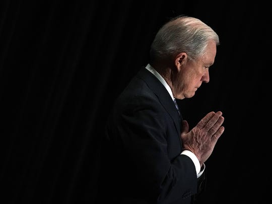 Attorney General Jeff Sessions is introduced during the Justice Department's Executive Officer for Immigration Review (EOIR) Annual Legal Training Program on June 11 at the Sheraton Tysons Hotel in Tysons, Virginia. S