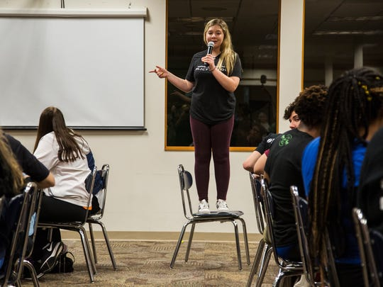 Jaclyn Corin, a Marjory Stoneman Douglas High School student and organizer of the March for Our Lives movement, speaks to a group of high school students during the March for Our Lives tour stop in Sioux City on Wednesday, June 20, 2018, at North High School. Students from Parkland and Chicago talked with local students about how to organize in their communities.