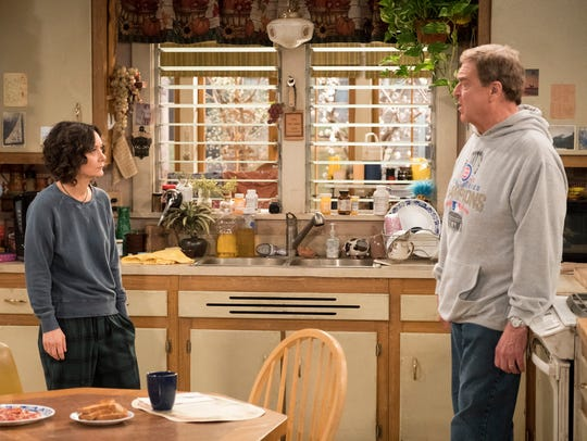 Sara Gilbert, left, and John Goodman, seen here in