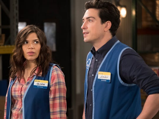 "America Ferrera and Ben Feldman star in NBC's ""Superstore."""