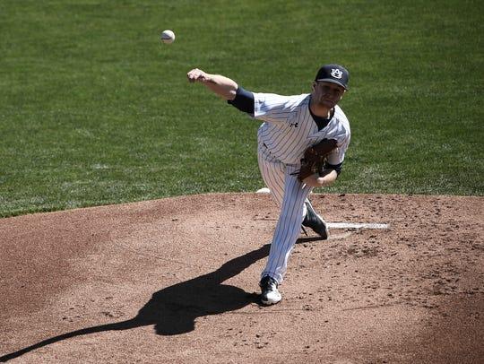 Davis Daniel (13).Auburn baseball vs Brigham Young