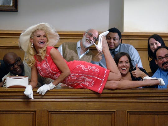 Murder defendant Lavinia Peck-Foster (Kristin Chenoweth) knows how to make an impression on the jury in NBC's 'Trial & Error: Lady, Killer.'