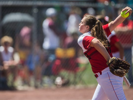 Newton's Payton Maher pitches the ball during the state