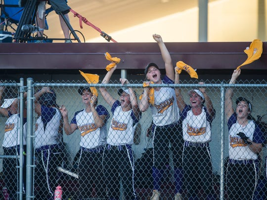 Indianola players cheer from the dugout during the Class 5A state softball championship between Pleasant Valley and Indianola on Friday, July 20, 2018, at the Rogers Sports Complex in Fort Dodge.