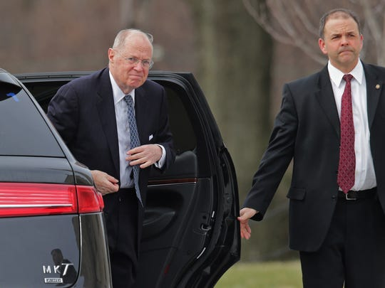 Justice Anthony Kennedy arrived for the funeral of