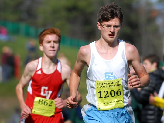South Burlington's Joey Staples races during the high school cross-country state championships in Thetford on Saturday.