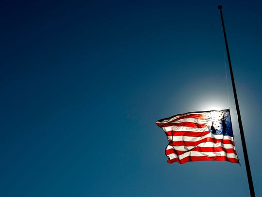 The American flag is flown at half-staff on certain days of remembrance, or after tragic events or the deaths or notable people.