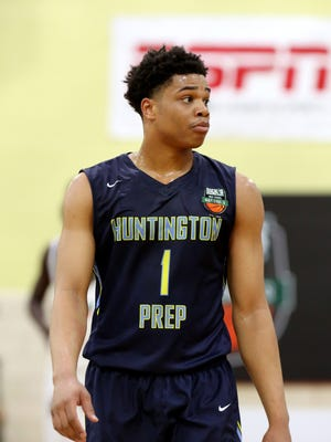 Huntington Prep's Miles Bridges #1 is seen against Oak Hill Academy in the DICK'S Sporting Goods High School National Basketball Tournament on Friday, April  3, 2015 in Queens, NY.