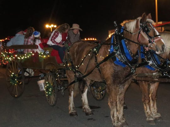Buddie and Jill Pino of the Kowboy Korral in Greenbank rein in the holiday spirit with their popular horse-drawn float during the Hammonton Christmas parade.