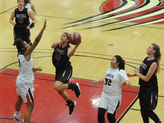 Foothill Tech's Cydnie Gutierrez glides to the basket