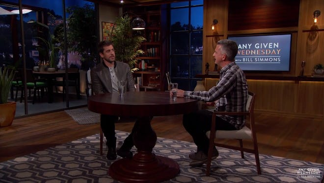 """Aaron Rodgers and Bill Simmons chat on """"Any Given Wednesday."""""""