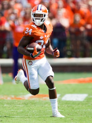 Clemson wide receiver Ray-Ray McCloud (34) runs the ball during the Clemson game against South Carolina State on Saturday, September 17, 2016 in Clemson.