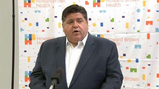 Gov. JB Pritzker announces the release of $140 million in federally-funded grants to Federally Qualified Health Centers, safety net hospitals and long-term care facilities during a news conference Friday, Sept. 25, 2020, at Howard Brown Health Center in Chicago.