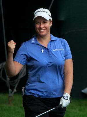 Brittany Lincicome celebrates her eagle on 14 during the second round.