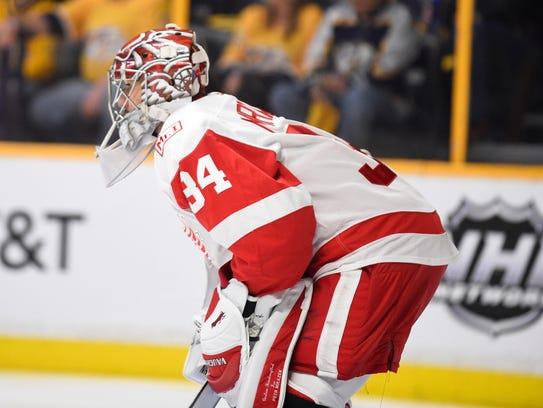 Detroit Red Wings goaltender Petr Mrazek (34) waits