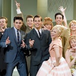 Zac Efron (center left), James Marsden (center)  and Brittany Snow (center right) in a scene from the motion picture Hairspray. --- DATE TAKEN: rec'd 01/07  By David James   New Line Cinema        HO      - handout   ORG XMIT: ZX61232