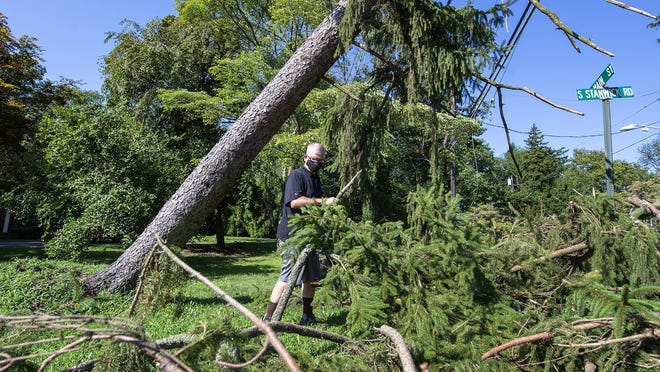 Gary Coffey, of Moorestown, stacks broken branches on his property Wednesday, after his tree was uprooted from Tropical Storm Isaias.