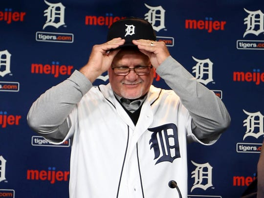 The Detroit Tigers new manager Ron Gardenhire tries on his new gear on Friday, October 20, 2017 at Comerica Park in Detroit.