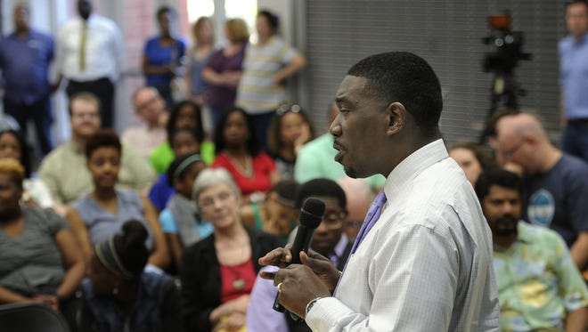 In this file photo, incoming Metro Nashville Public Schools director Shawn Joseph conducts a community forum  at Shayne Elementary School Tuesday May 31, 2016, in Nashville, Tenn.