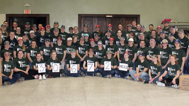 More than 70 people packaged over 30,000 meals during the Kids to Fight Hunger event on Feb. 17. The Rally to Fight Hunger is a service event that was started in 2016 by past AWA Service Coordinator, McKenzie Rowley. Current Service Coordinator, Abigail Martin, continued the event for its third year.