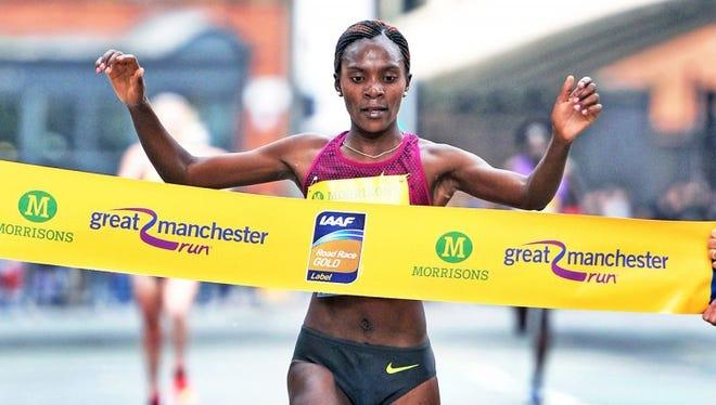 Betsy Saina, at the finish of the Great Manchester Run.