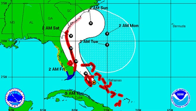 The projected path of Hurricane Matthew as of 5 a.m. Thursday.