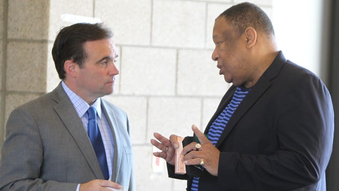 Mayor John Cranley, left, and former Cincinnati State President Dr. O'dell Owens worked closely in developing a bridge project near the community college's campus.