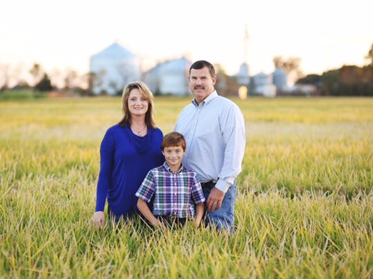 Louisiana rice farmer Richard Fontenot with his wife Rhonda and son Lance on their farm near Ville Platte.