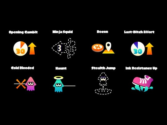 And here's the remainder of gear abilities features in the Splatoon.