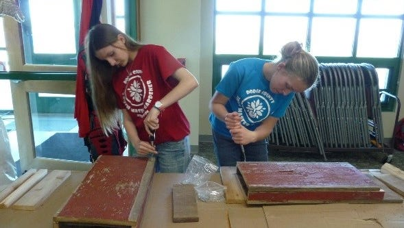 Dodge County youth build bat houses for using wood donated by the city of Horicon and a grant from Wisconsin Master Gardener Association on May 5.