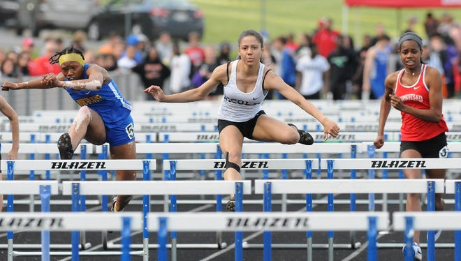 Nicolet junior Destiny Huven, shown at the sectional meet last year, ran the state's fastest time in the 100 high hurdles Tuesday at the North Shore Conference meet.