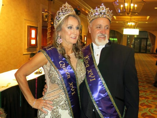 Krewe des Ambassadeurs-Minden Queen XVI Tammy Walker and King Terry Walker at Coronation Gala.
