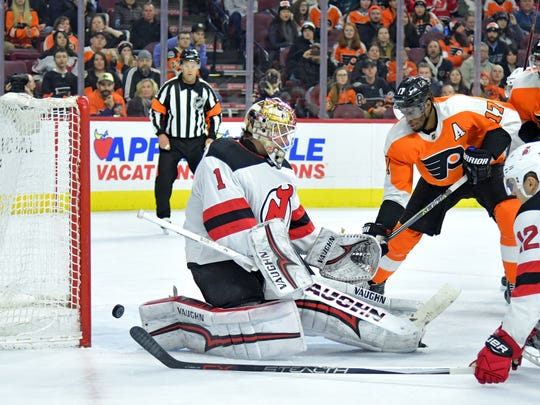 New Jersey Devils goaltender Keith Kinkaid (1) allows goal by Philadelphia Flyers center Claude Giroux (28) (not pictured) during the second period at Wells Fargo Center.