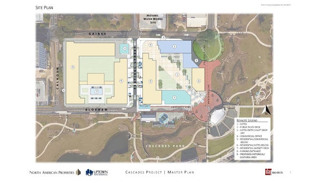 The proposed site plan for the  mixed-use project near Cascades Park.