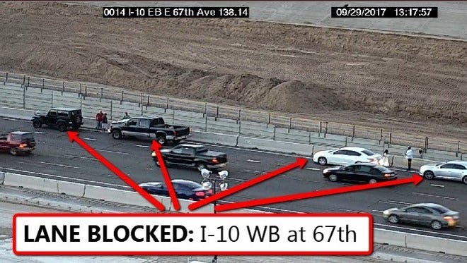 A car crash shut down the southbound lanes of I-17 on Sept. 22.